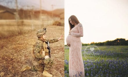 Photographer Creatively Includes Deployed Soldier In Wife's Maternity Photos