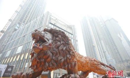 This Giant Roaring Lion Sculpture In China Is The World's Largest Redwood Sculpture