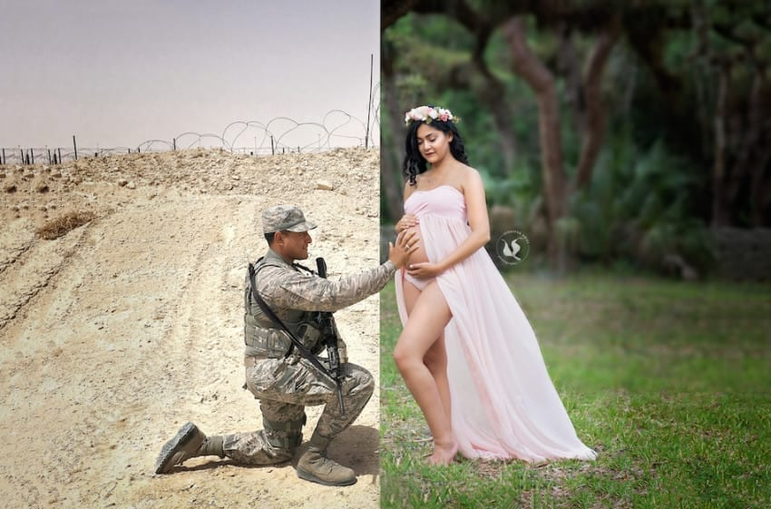 Photographer Creatively Includes Deployed Airman In Wife's Maternity Photos