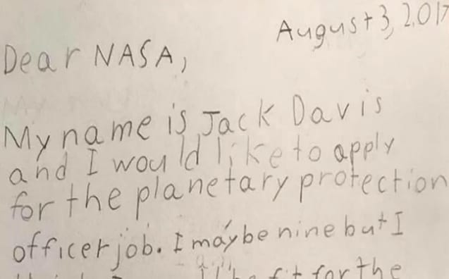 9-Year-Old Boy Applies For A Job At NASA And Receives An Inspiring Reply