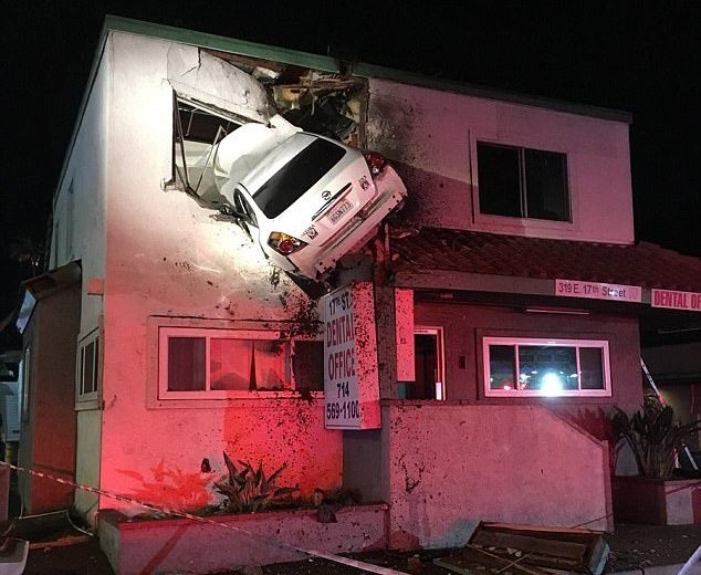 Dashcam Reveals Speeding Car Flying And Crashing Into The Second Floor Of A Building
