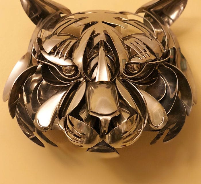 Artist Turned Old Cutlery Into Amazing Metal Sculptures Of Animals